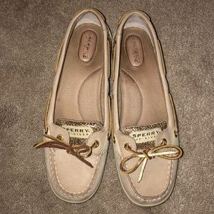 Gold sparkle Sperry woman's boat shoe